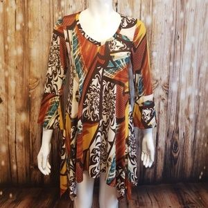 Tops - Brown & gold abstract print swing tunic/ dress
